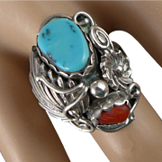 Navajo Sterling Silver Ring, Turquoise And Coral By Harrison Yazzie