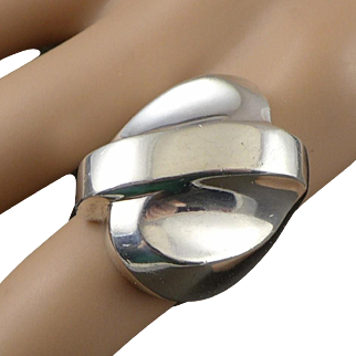 Chunky Taxco Sterling Silver Ring, Modernist, Unisex Made In Mexico, 22.4 Grams