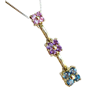 Gold Krementz Gemstone Necklace, Vintage 14K Topaz, Amethyst, And Pink Tourmaline Flower Pendant