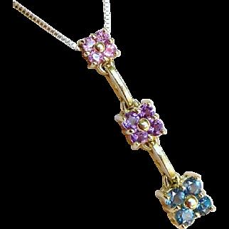 Gold Krementz Gemstone Necklace, Vintage 14K Topaz, Amethyst, And Pink Tourmaline Flower Pendant