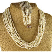 Gold Rice Pearl Set, Vintage Necklace And Bracelet Multi Strand Demi Parure