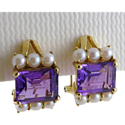 Amethyst Pearl Earrings, Vintage 14K Gold Omega Backs