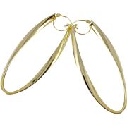 Gold Oval Hoop Earrings, Vintage Milor Italy 14K Long Elliptical Shape