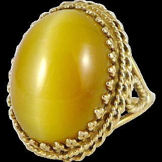 Gold Tigers Eye Ring, Vintage 10K Golden Cats Eye Cocktail Ring