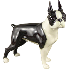Hutschenreuther Boston Terrier Figurine, Vintage Porcelain Dog 1970's