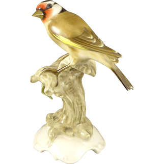 Hutschenreuther Selb Bird Figurine, Vintage Porcelain Goldfinch By K Tutter, Germany