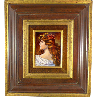 Limoges Enamel On Copper Portrait, Vintage Miniature Of Lady, Artist Signed F J Carmona