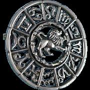 Sterling Silver Zodiac Brooch, Vintage Leo Sun Sign Pin