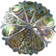 Sterling Silver Abalone Brooch, Vintage Taxco Mexico Inlay Pin Or Pendant