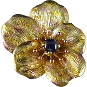 Antique Gold Sapphire Pansy Brooch, Art Nouveau 14K Flower Pin