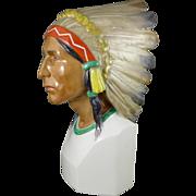 Rare Vintage Karl Ens Native American Porcelain Bust With Headdress, Germany