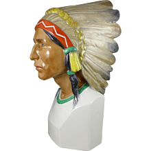 Rare Vintage Karl Ens Native American Porcelain Bust With Headdress, Germany