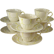 Vintage Irish Belleek Tea Cups And Saucers, New Shell Pattern, Six Sets