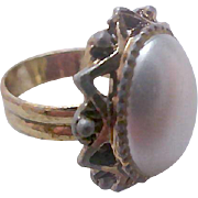 Simulated Oval Pearl Cabochon~Gold Tone Ring ~ Size 5 - Adjustable