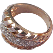 Fabulous Pave Diamante~Copper Color Gold Plate Accents~Wide Band Ring~ 7 3/4