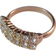 Glamorous Two Row Pave Diamante Gold Plate Wedding Band ~ Size 5