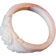 Hand Carved Ivory Colored CELLULOID  Ring