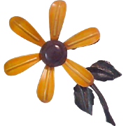 Charming Metal Golden Yellow Enamel DAISY Brooch