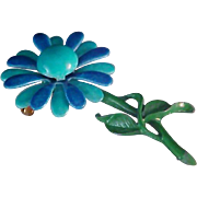 Teal & Cornflower Blue Daisy Brooch