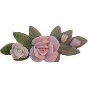 Porcelain Bisque Roses Bar Pin