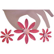 Summer Rose & Baby Pink Enamel~All Metal DAISY Brooch & Earring Suite
