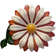 Beveled DAISY Three Row Petals~White,Gold,Russet Enamel Metal Pin/Brooch