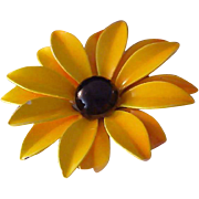 DAISY~Crafted in Metal~Yellow & Black Enamel Flower Brooch