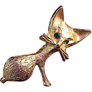 Charming MOUSE~Textured Gold Plate~Jade Color Glass Eyes