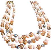 CORO~Crystal~Oval~Variegated Beads~Three Strand Hand Wired Necklace