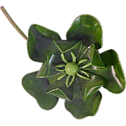 Holly Green Metal  MAGNOLIA Double Dimensional Brooch