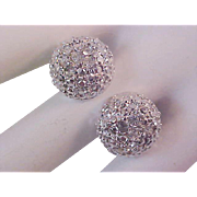 Lavish Diamante & Simulated Marcasite Button Silver Plate Post Earrings