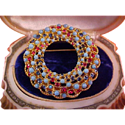 Awesome Turquoise Cabochons~Red & Sapphire Blue Rhinestones Beveled Brooch