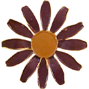 FALL All  Gold Plate Metal Brown & Tan Enameled SUNFLOWER Brooch/Pin