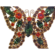 Fabulous Open Design BUTTERFLY Brooch & Matching Earrings~Simulated Orange Sapphire~Topaz~Emerald Green Rhinestone Brooch