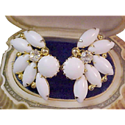 Lavish MILK WHITE Glass ~ Diamante Gold Plate Clip Earrings