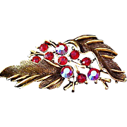 Ruby Red & Aurora Borealis Rhinestone~Trademark LISNER Antiqued Gold Plate Brooch