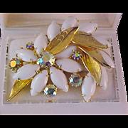 Spectacular D & E JULIANA  Milk White Marquis~Aurora Borealis Textured Gold Plate Brooch
