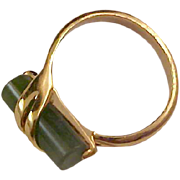 Fabulous Simulated JADE~Gold Plate RING by Avon