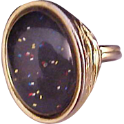 UNIQUE ~Oval Confetti Under Glass Gold Plate Adjustable Ring