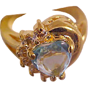 SPECTACULAR~Aquamarine Heart Cut Designer Signed Gold Plate Ring~Size 7 1/2
