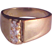 RETRO~Impressive Cubic Zirconia Trademarked Engagement/Fashion Rose Gold Plate Ring~Size 6