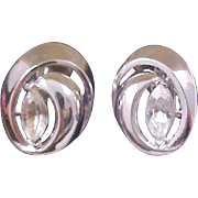 REDUCED~Art Deco Crown Trifari Marquise Cut Diamante Polished Silver Tone Clip Earrings