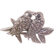 AVON - Antiqued Silver Marcasites LOVE BIRDS Brooch/Pin