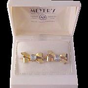 1/20th 12K Gold Fill BOWS & Blue Zircon Rhinestone Screw Back Earrings