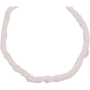 Fanciful Vintage Glass WHITE BUGLE BEAD Torsade Necklace
