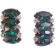 Luxurious Simulated Faceted Emerald Green Marquis & Diamante Clip Earrings