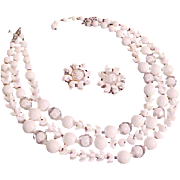 MARVELOUS MARVELLA~ Signed Givre & Milk White Glass Demi~Necklace & Earrings