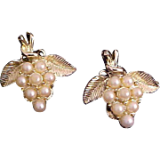 Dramatic Simulated Cluster of Pearl  GRAPES Gold Plate Clip Earrings
