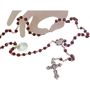 VINTAGE Diamond Cut GARNET Glass Faceted Rosary ~ New/Old Stock  Silver Plate
