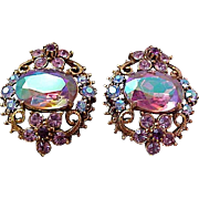 BLING~Watermelon Rhinestones~Simulated Amethyst Filigree Gold Plate Clip Earrings